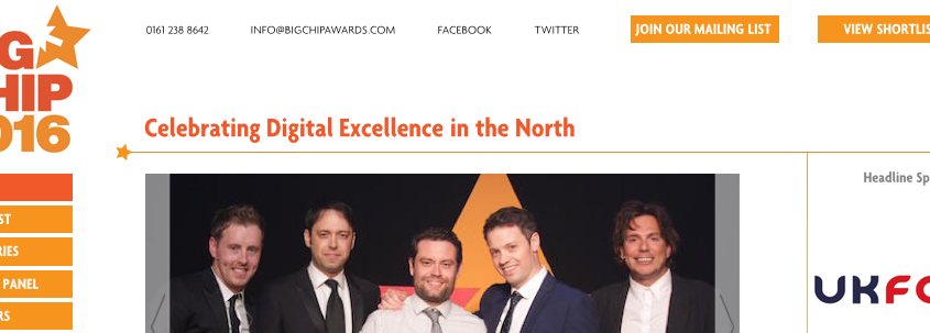 the big chip awards 2016 manchester digital agencies